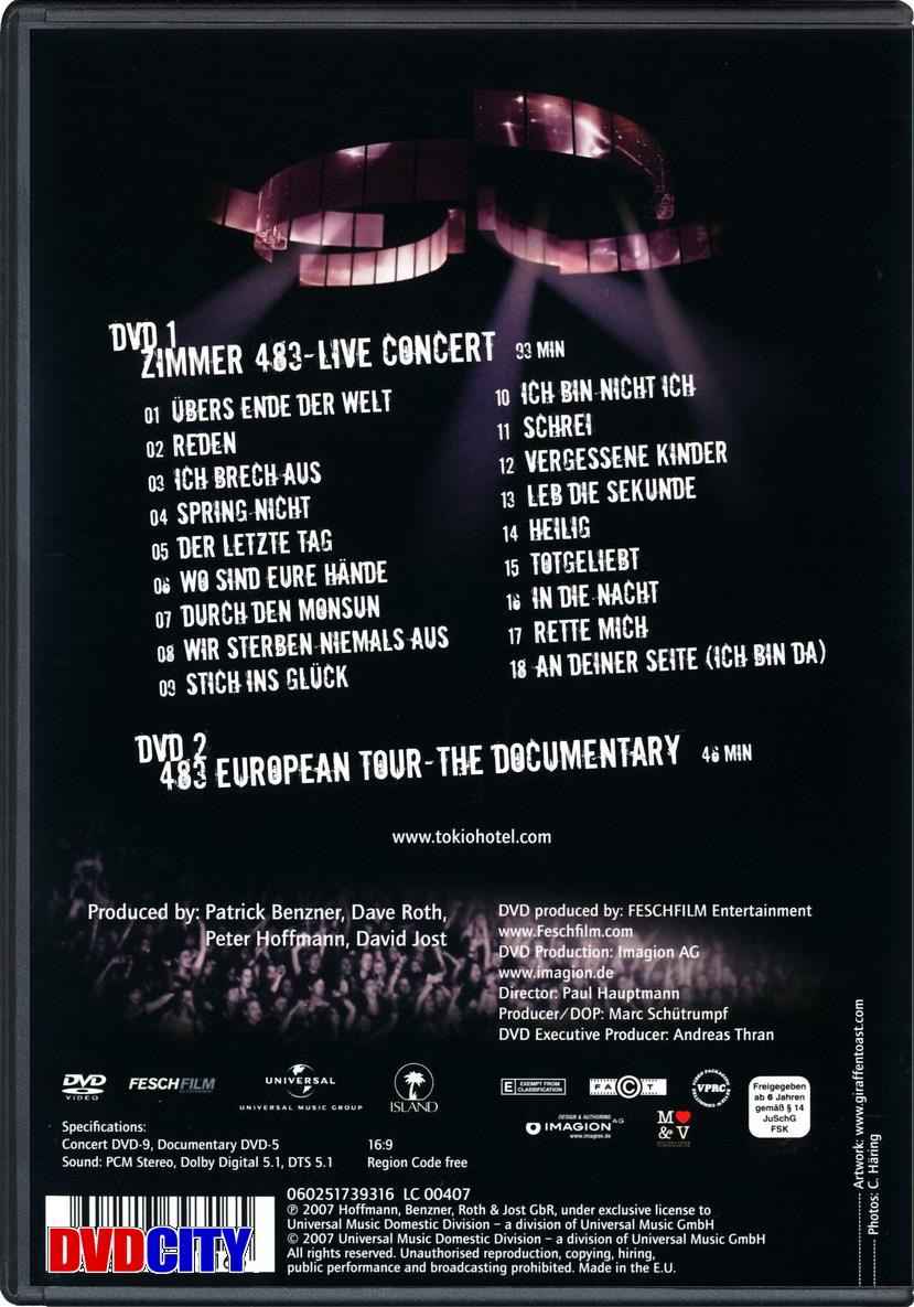 Tokio Hotel Zimmer 483 Live In Europe